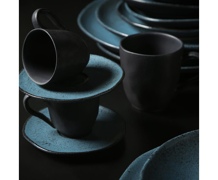 Jogo de Xícaras para Café e Pires em Cerâmica Orgânico - Petroleum | WestwingNow