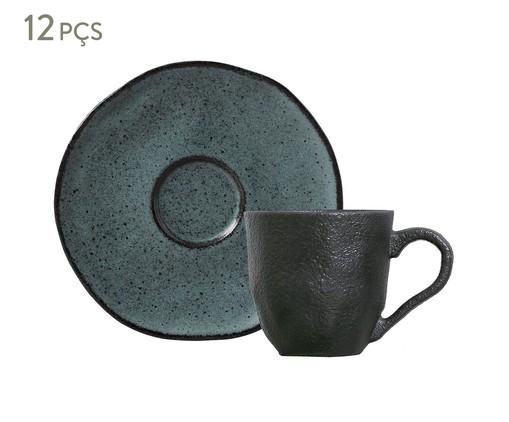 Jogo de Xícaras para Café e Pires em Cerâmica Orgânico - Petroleum, Cinza   WestwingNow