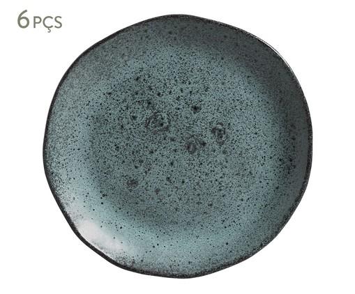 Jogo de Pratos para Sobremesa em Cerâmica Orgânico - Petroleum, Cinza | WestwingNow