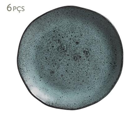 Jogo de Pratos para Sobremesa em Cerâmica Orgânico - Petroleum | WestwingNow