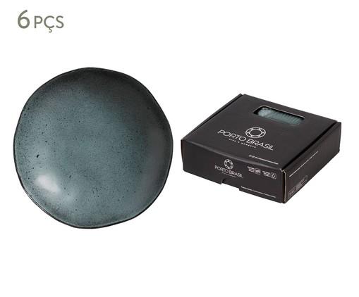 Jogo de Pratos Fundos em Cerâmica Orgânico - Petroleum, Preto | WestwingNow