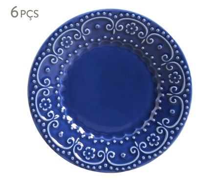 Jogo de Pratos para Sobremesa em Cerâmica Esparta 06 Pessoas - Azul | WestwingNow
