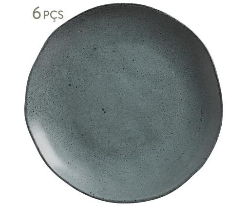 Jogo de Pratos Rasos em Cerâmica Orgânico - Petroleum, Cinza   WestwingNow
