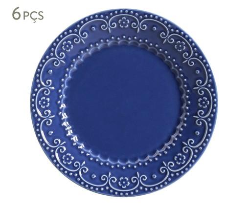 Jogo de Pratos Rasos em Cerâmica Esparta 06 Pessoas - Azul Navy, Azul | WestwingNow