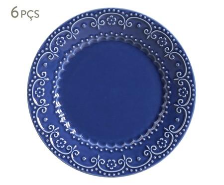 Jogo de Pratos Rasos em Cerâmica Esparta 06 Pessoas - Azul Navy | WestwingNow