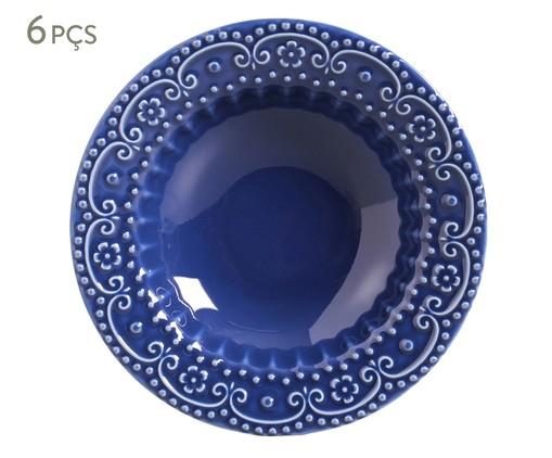 Jogo de Pratos Fundos em Cerâmica Esparta 06 Pessoas - Azul Navy, Azul | WestwingNow