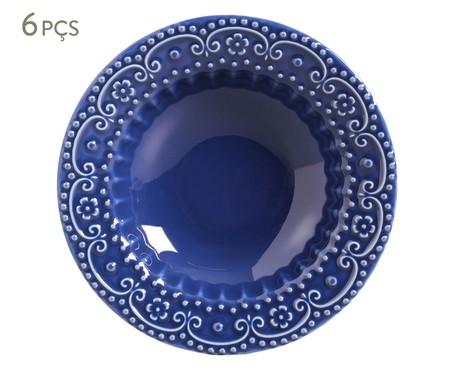 Jogo de Pratos Fundos em Cerâmica Esparta 06 Pessoas - Azul Navy | WestwingNow