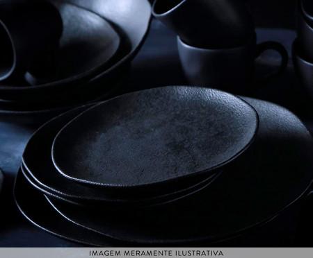Jogo de Pratos para Sobremesa em Cerâmica Orgânico Carbon - Preto | WestwingNow