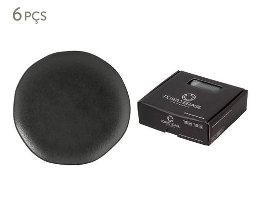 Jogo de Pratos para Sobremesa em Cerâmica Orgânico 06 Pessoas - Carbon, Cinza | WestwingNow