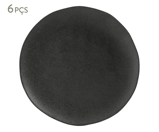 Jogo de Pratos Rasos em Cerâmica Orgânico 06 Pessoas - Carbon, Preto | WestwingNow