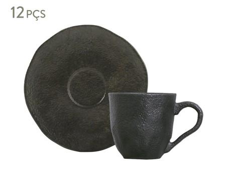 Jogo de Xícaras para Café em Cerâmica Orgânico 06 Pessoas - Preto | WestwingNow