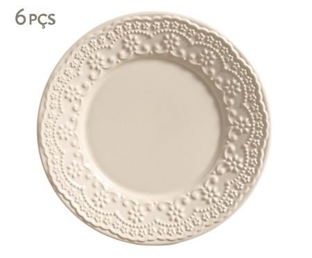 Jogo de Pratos para Sobremesa em Cerâmica Madeleine - Cru | WestwingNow