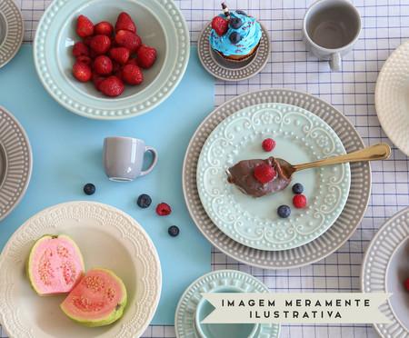 Jogo de Pratos para Sobremesa em Cerâmica Madeleine Cru - 06 Pessoas | WestwingNow