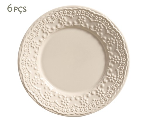 Jogo de Pratos para Sobremesa em Cerâmica Madeleine Cru - 06 Pessoas, bege | WestwingNow