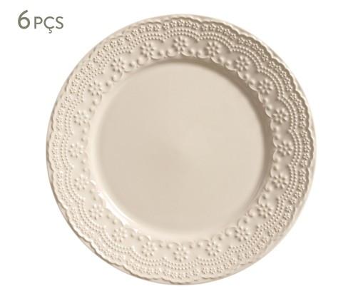 Jogo de Pratos Rasos em Cerâmica Madeleine - Bege, bege | WestwingNow