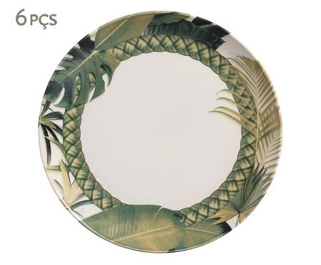 Jogo de Pratos Rasos em Cerâmica Coup Foliage - Verde | WestwingNow
