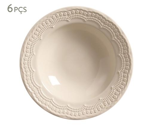Jogo de Pratos Fundos de Cerâmica Madeleine - 06 Pessoas, bege | WestwingNow