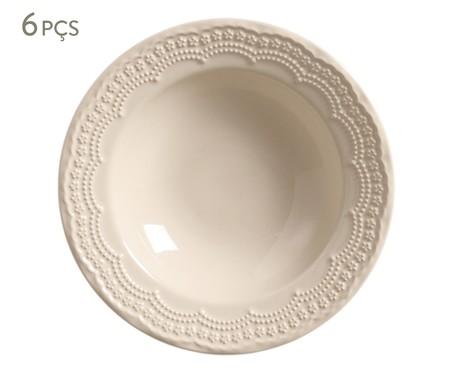 Jogo de Pratos Fundos de Cerâmica 6 Pessoas Madeleine - Bege | WestwingNow