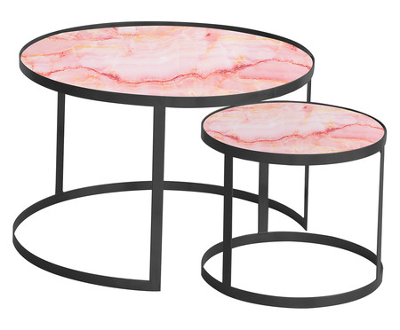 Jogo de Mesas Luna - Trópico Rosa e Preto | WestwingNow