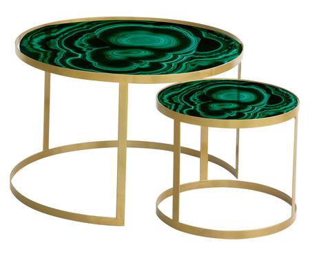 Jogo de Mesas Luna - Ágata Quartzo Verde e Dourado   WestwingNow
