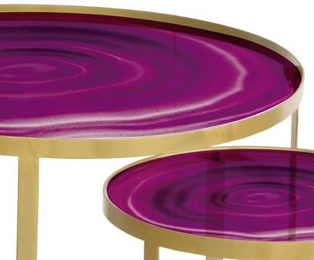 Jogo de Mesas Luna - Ágata Misty e Dourado | WestwingNow