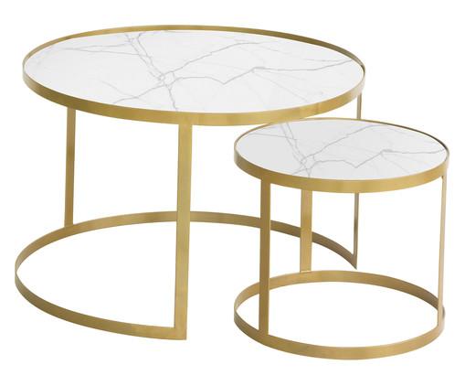 Jogo de Mesas Luna - Tundra e Dourado, branco,dourado | WestwingNow