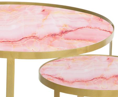 Jogo de Mesas Luna - Trópico Rosa e Dourado | WestwingNow