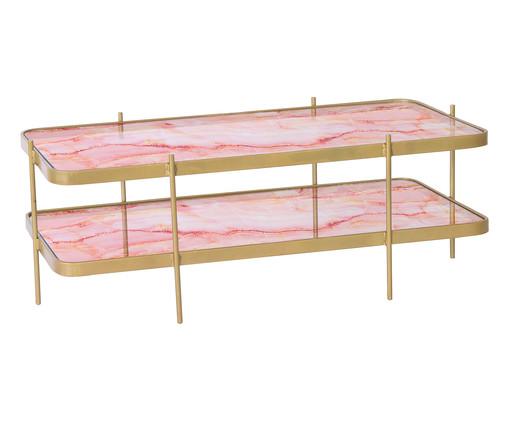 Mesa de Centro Andaime - Trópico Rosa e Dourada, rosa,dourado   WestwingNow