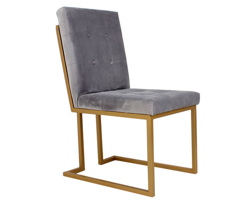 Cadeira em Veludo Prince - Cinza, cinza | WestwingNow
