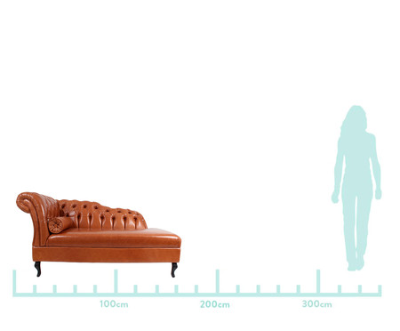 Chaise Longue em Couro Samartim - Caramelo | WestwingNow