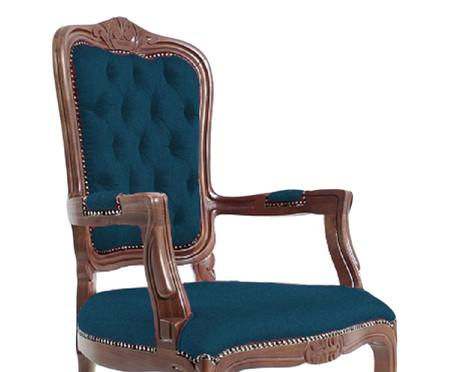 Cadeira Luiz Xv Telian Capitonê - Azul e Marrom   WestwingNow