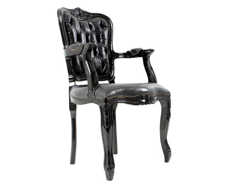 Cadeira Ecológica Luis Xv Lamme Capitonê - Preta | WestwingNow