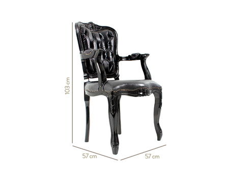 Cadeira Ecológica Luis Xv Lamme Capitonê - Preta   WestwingNow
