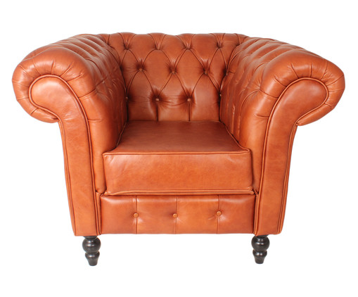 Poltrona Chesterfield em Couro Natural Amelie - Caramelo, marrom   WestwingNow