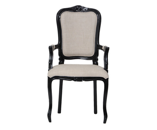 Cadeira com Braços em Linho Luiz XV Beaumont - Preto e Cru, bege | WestwingNow