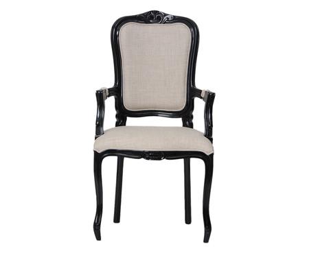 Cadeira com Braços em Linho Luiz XV Beaumont - Preto e Cru | WestwingNow