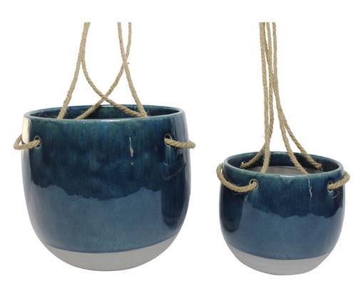 Jogo de Cachepots de Cerâmica Denise - Azul e Branco, Azul | WestwingNow