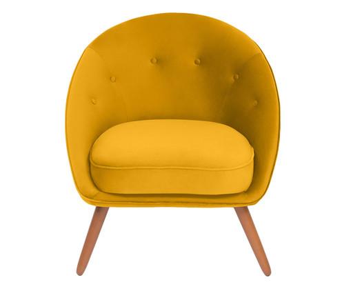 Poltrona Belle em Veludo - Açafrão e Natural, amarelo,Natural | WestwingNow