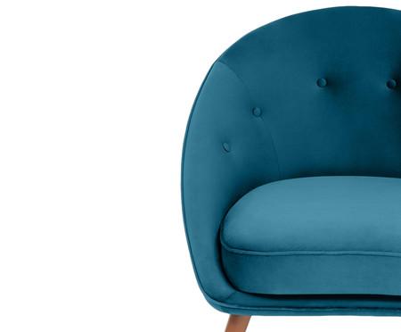 Poltrona Belle em Veludo - Azul Pavão e Natural | WestwingNow
