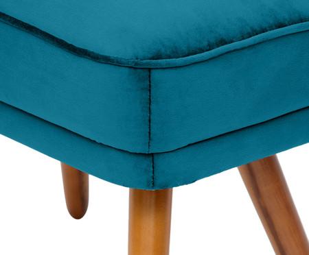 Pufe Belle em Veludo - Azul Pavão e Natural | WestwingNow