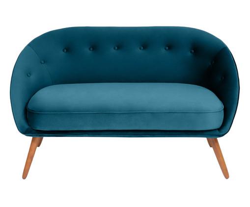 Sofá Belle em Veludo - Azul Pavão e Natural, Azul, Natural | WestwingNow