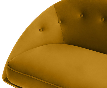 Sofá Belle em Veludo - Açafrão e Dourado | WestwingNow