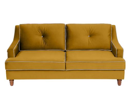 Sofá Windsor em Veludo - Açafrão com Vivo Cru, Amarelo | WestwingNow