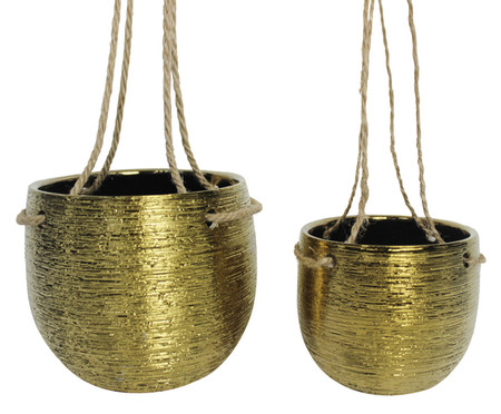 Jogo de Cachepots Suspensos Kari - Dourado | WestwingNow