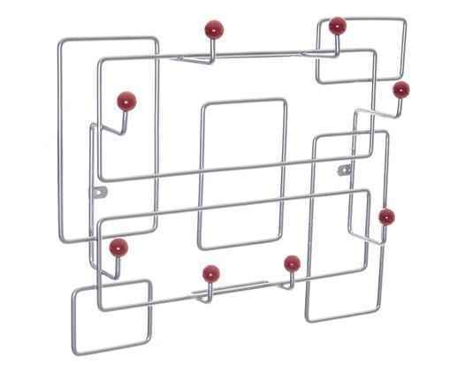 Cabideiro Sinzig - Prateado e Vermelho, prata / metálico,vermelho | WestwingNow