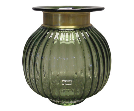 Vaso de Vidro Leonardo - Verde e Dourado | WestwingNow