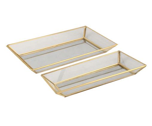 Jogo de Bandejas Finn - Dourado, Dourado, Transparente | WestwingNow