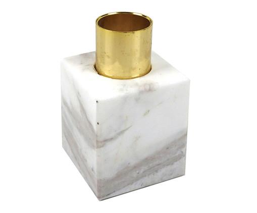 Castiçal Carole II - Branco e Dourado, Branco, Dourado | WestwingNow
