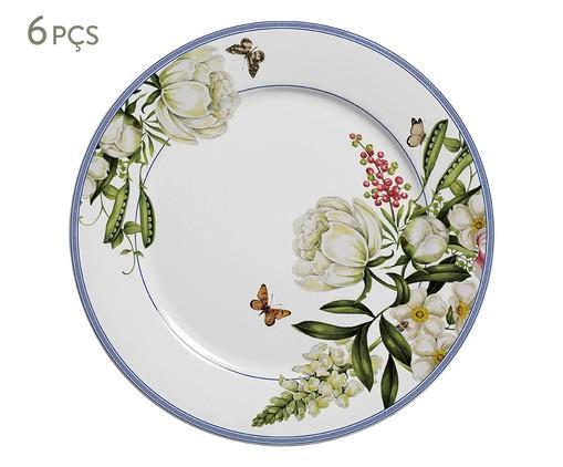 Jogo de Pratos Rasos em Cerâmica Pot de Fleur 06 Pessoas - Colorido, Colorido | WestwingNow