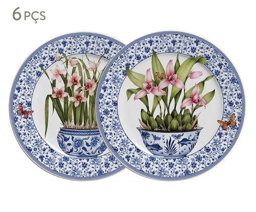 Jogo de Pratos para Sobremesa em Cerâmica Pot de Fleur 06 Pessoas - Colorido, Colorido | WestwingNow